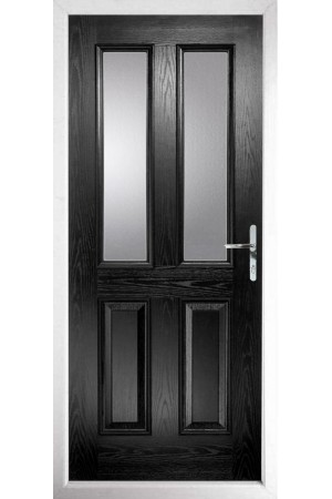 The Cheshire Black Composite Door with Clear Glazing