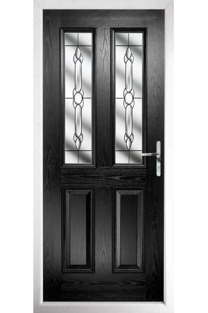 The Cheshire Black Composite Door with Crystal Bohemia