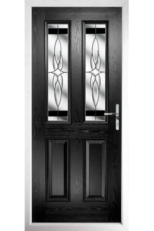 The Cheshire Black Composite Door with Black Crystal Harmony
