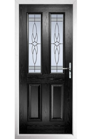 The Cheshire Black Composite Door with Crystal Harmony Frost