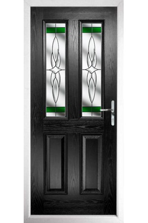 The Cheshire Black Composite Door with Green Crystal Harmony