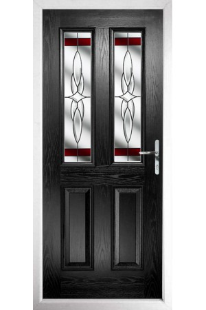The Cheshire Black Composite Door with Red Crystal Harmony