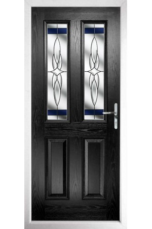 The Cheshire Black Composite Door with Blue Crystal Harmony