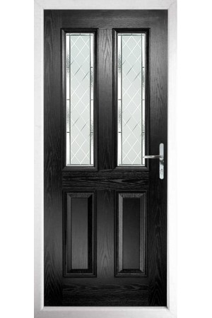 The Cheshire Black Composite Door with Diamond Cut