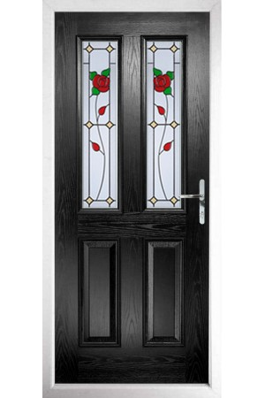 The Cheshire Black Composite Door with English Rose