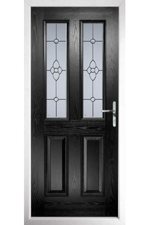 The Cheshire Black Composite Door with Finesse Glazing