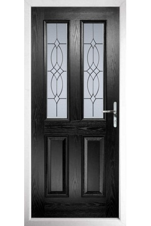 The Cheshire Black Composite Door with Flair Glazing