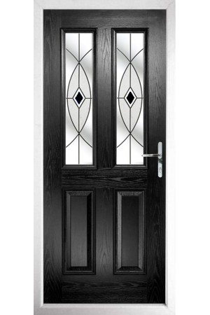 The Cheshire Black Composite Door with Black Fusion Ellipse