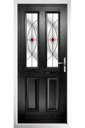 The Cheshire Black Composite Door with Red Fusion Ellipse