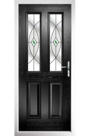 The Cheshire Black Composite Door with Green Fusion Ellipse