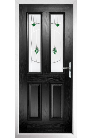 The Cheshire Black Composite Door with Green Murano