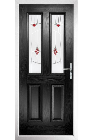 The Cheshire Black Composite Door with Red Murano